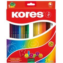 Creioane Colorate 24 Culori cu Ascutitoare Triunghiulare Kores