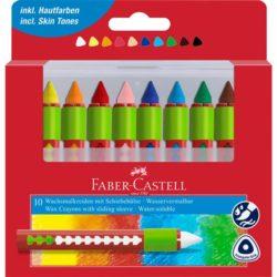 Creioane Cerate Solubile Cu Protectie 10 Culori Faber-Castell