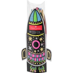 Set Cadou Racheta 5 Creioane Colorate Grip Neon si 5 Metalizate Faber-Castell