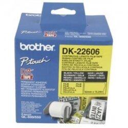 BANDA CONTINUA LAMINATA 62MM BLACK ON YELLOW DK22606 ORIGINAL BROTHER P-TOUCH QL-1050