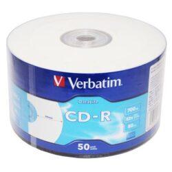 CD-R VERBATIM 52X INKJET PRINTABLE 700MB SHRINK 50 43794
