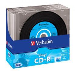 CD-R VERBATIM 700MB 52X DATA VINYL SLIM CASE 10 43426