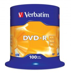 DVD-R VERBATIM 4.7GB 16X SPINDLE 100 MATT SILVER SURFACE 43549
