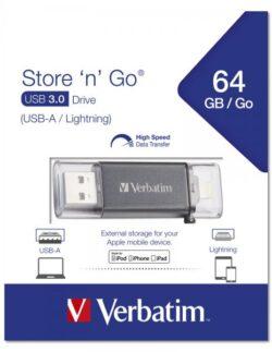 STICK USB VERBATIM 64GB LIGHTNING USB3.0 DRIVE GRPAHITE GREY 49301