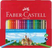 Creioane Colorate Hexagonale Cutie Metal Faber-Castell