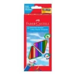 Creioane Colorate Triunghiulare cu Ascutitoare Eco Faber-Castell