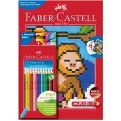 Set 12 Creioane Colorate Grip Carte Colorat Pixel Faber-Castell
