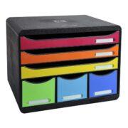 Cabinet 6 Sertare Maxi Negru Multicolor Exacompta